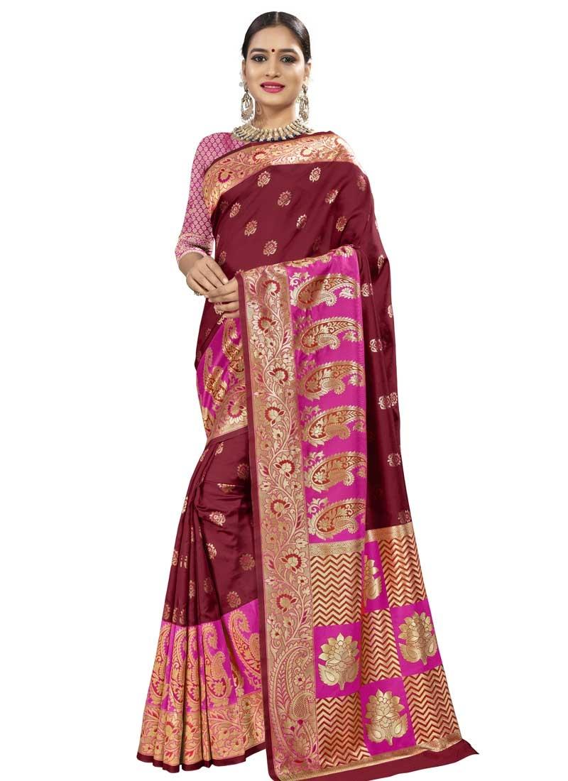 Banarasi Silk Maroon and Rose Pink Contemporary Style Saree