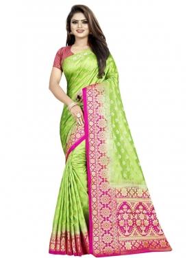 Banarasi Silk Mint Green and Rose Pink Thread Work Designer Contemporary Style Saree