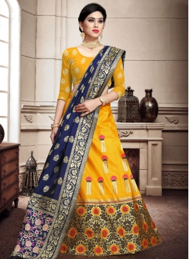 Banarasi Silk Mustard and Navy Blue A Line Lehenga Choli