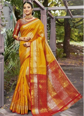 Banarasi Silk Mustard and Red Contemporary Style Saree For Festival