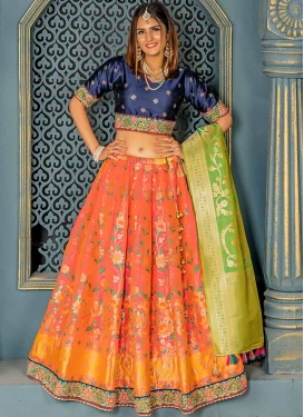 Banarasi Silk Navy Blue and Orange A Line Lehenga Choli