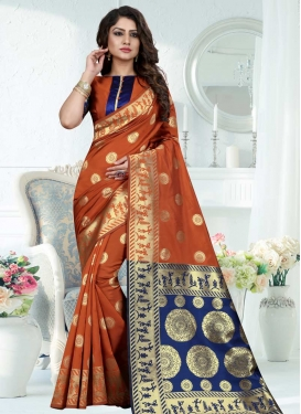 Banarasi Silk Navy Blue and Orange Trendy Classic Saree For Ceremonial