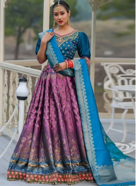 Banarasi Silk Navy Blue and Purple Lehenga Choli