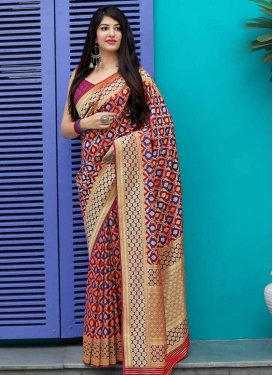 Banarasi Silk Navy Blue and Red Designer Contemporary Saree