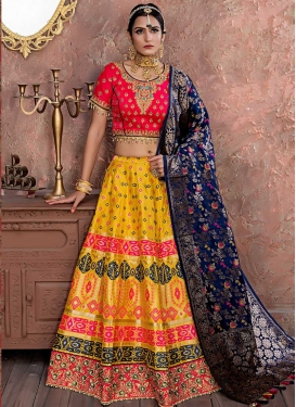 Banarasi Silk Navy Blue and Rose Pink A - Line Lehenga