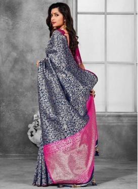 Banarasi Silk Navy Blue and Rose Pink Designer Contemporary Saree For Ceremonial
