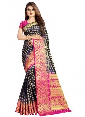 Banarasi Silk Navy Blue and Rose Pink Thread Work Designer Contemporary Style Saree