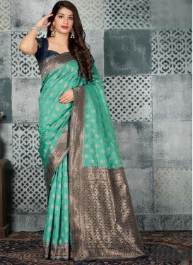 Banarasi Silk Navy Blue and Turquoise Thread Work Classic Saree