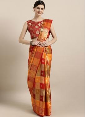 Banarasi Silk Orange and Red Woven Work Designer Traditional Saree