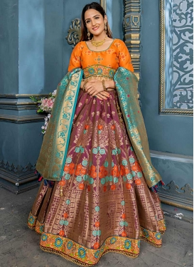 Banarasi Silk Orange and Wine A Line Lehenga Choli