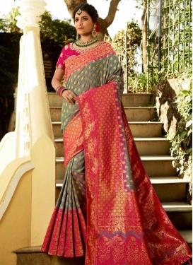 Banarasi Silk Rose Pink and Sea Green Woven Work Designer Contemporary Style Saree