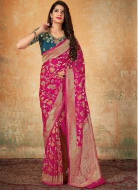 Banarasi Silk Rose Pink and Teal Classic Saree For Festival