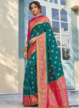 Banarasi Silk Rose Pink and Teal Trendy Classic Saree For Bridal