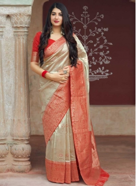 Banarasi Silk Thread Work Beige and Red Traditional Saree