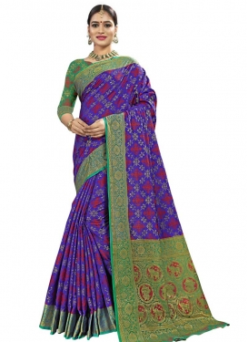 Banarasi Silk Thread Work Blue and Green Traditional Saree