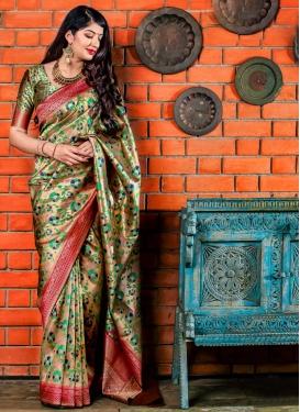 Banarasi Silk Thread Work Designer Contemporary Style Saree