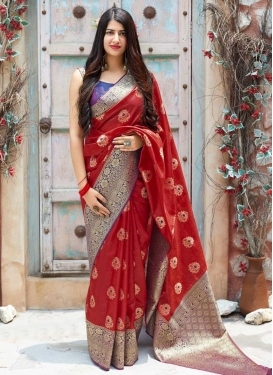 Banarasi Silk Thread Work Designer Traditional Saree