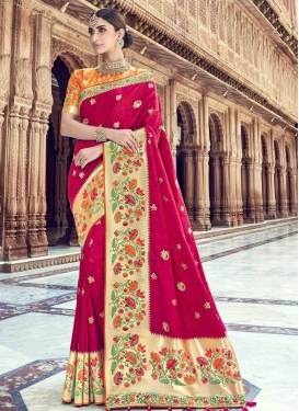 Banarasi Silk Thread Work Fuchsia and Orange Traditional Designer Saree