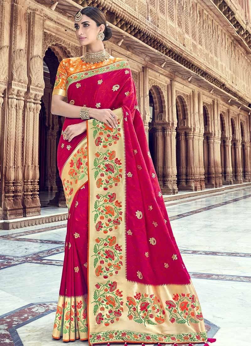 Banarasi Silk Thread Work Fuchsia and Orange Traditional Designer Saree