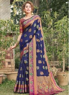Banarasi Silk Woven Work Contemporary Style Saree