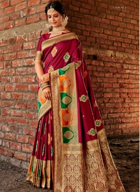 Banarasi Silk Woven Work Contemporary Style Saree