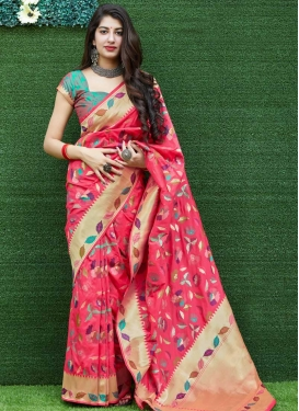 Banarasi Silk Woven Work Designer Contemporary Saree