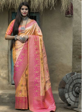 Banarasi Silk Woven Work Designer Contemporary Style Saree