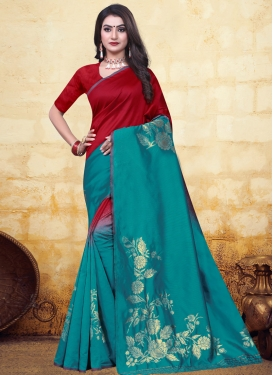 Banarasi Silk Woven Work Red and Teal Designer Traditional Saree