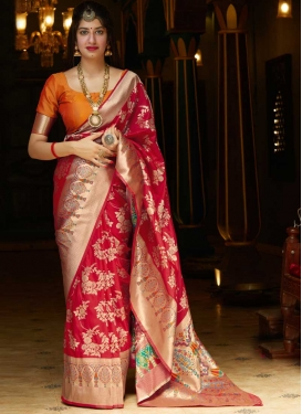 Banarasi Silk Woven Work Trendy Classic Saree