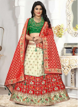Bandhej Print Work Cream and Green A - Line Lehenga