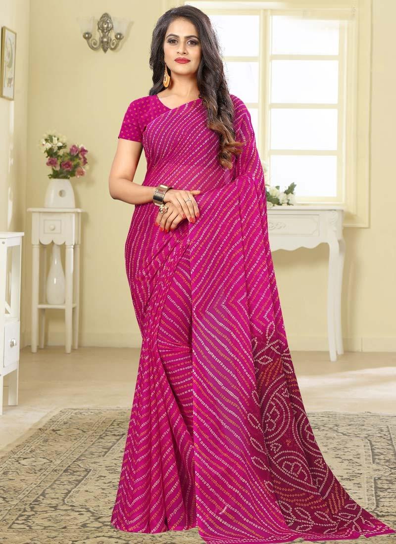 Bandhej Print Work Designer Traditional Saree
