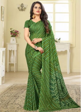 Bandhej Print Work Faux Chiffon Designer Contemporary Saree