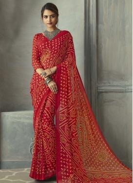 Bandhej Print Work Faux Chiffon Trendy Classic Saree