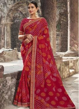 Bandhej Print Work Faux Georgette Designer Traditional Saree For Ceremonial