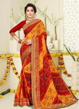 Bandhej Print Work Mustard and Red Designer Contemporary Style Saree
