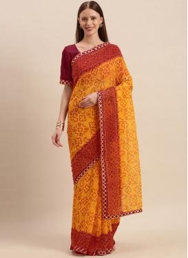 Bandhej Print Work Mustard and Red Designer Traditional Saree