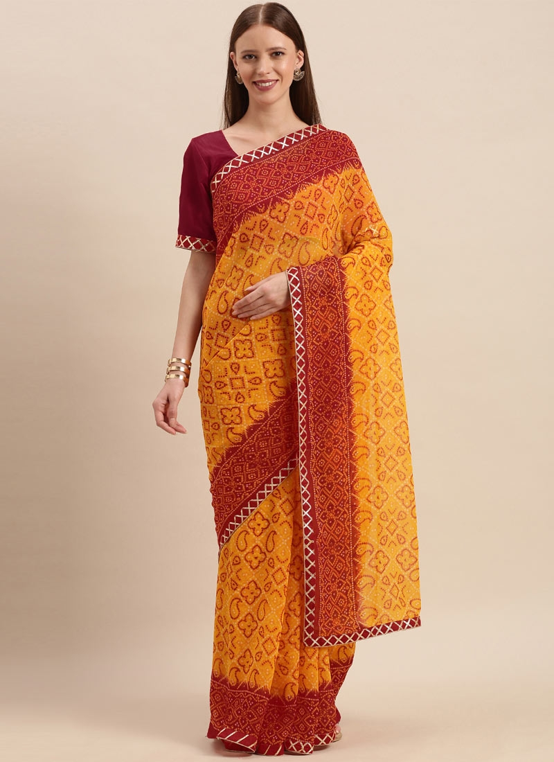 Bandhej Print Work Mustard and Red Designer Traditional Saree
