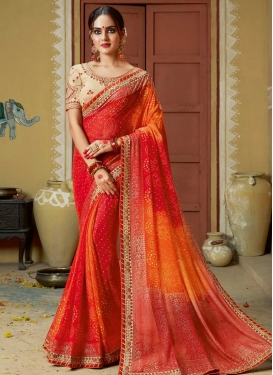 Bandhej Print Work Orange and Red Traditional Designer Saree
