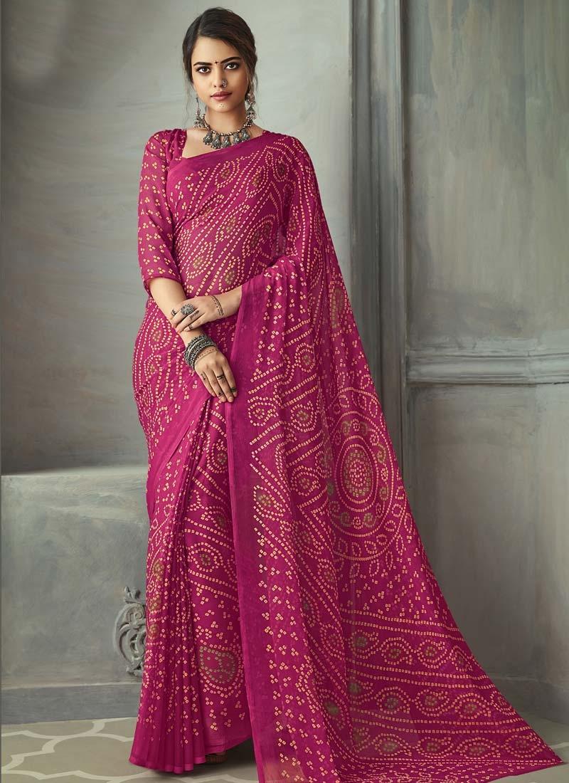 Bandhej Print Work Traditional Designer Saree