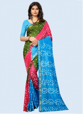 Bandhej Print Work Trendy Classic Saree For Casual