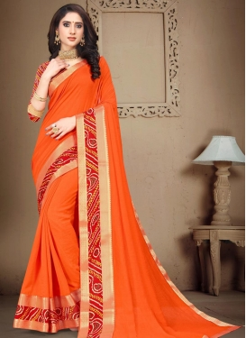 Bandhej Print Work Vichitra Silk Trendy Classic Saree