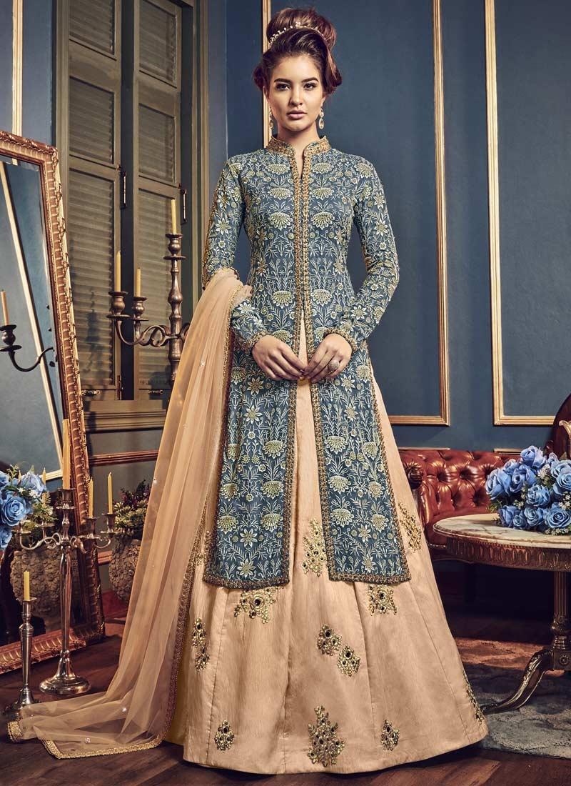 Banglori Silk Beige and Grey Designer Kameez Style Lehenga Choli