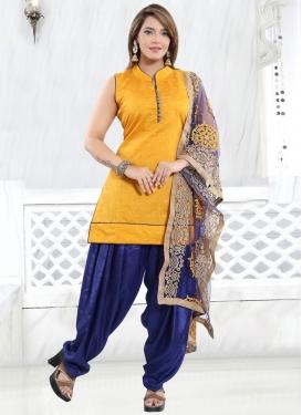 Banglori Silk Blue and Mustard Thread Work Readymade Salwar Suit