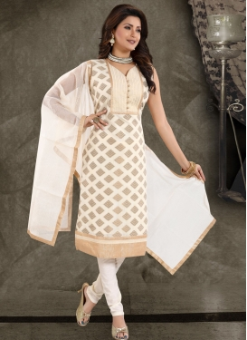 Banglori Silk Cream and Off White Lace Work Readymade Churidar Salwar Kameez