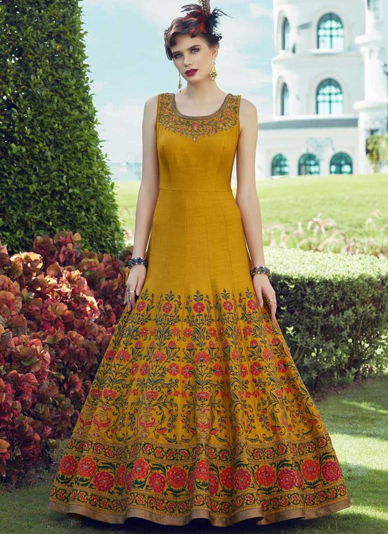 Banglori Silk Embroidered Work Floor Length Trendy Gown
