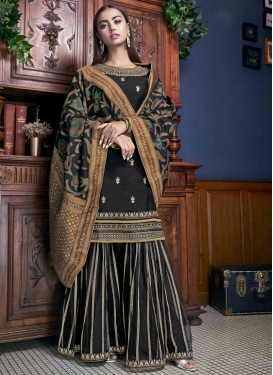 Banglori Silk Embroidered Work Sharara Salwar Kameez