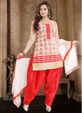 Banglori Silk Off White and Red Readymade Suit