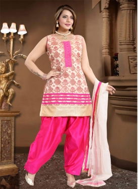 Banglori Silk Off White and Rose Pink Lace Work Readymade Salwar Suit