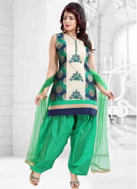Banglori Silk Off White and Sea Green Embroidered Work Readymade Salwar Suit