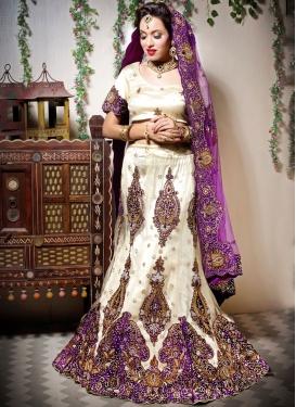 Baronial Cream Embroidered Designer Lehenga Choli